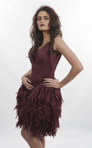 Picture of wine cross feathered dress