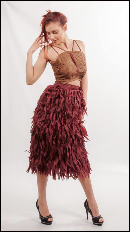 Picture of wine feathered skirt